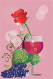 Beautiful rose and glass of wine Stock Photos