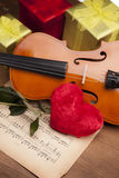 Beautiful rose, heart and violin! Stock Photos