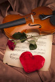 Beautiful rose, heart and violin! Royalty Free Stock Image