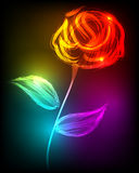 Beautiful rose made of colorful light stock illustration