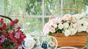 Beautiful rose and many kind of flowers in flower shop with slide motion. flower shop background.  stock video