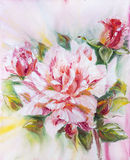 Beautiful rose, oil painting Royalty Free Stock Photos