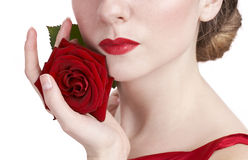 Beautiful rose and red lips Stock Photos