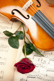 Beautiful rose and violin! Royalty Free Stock Image