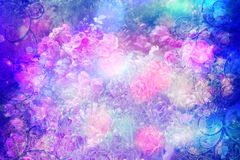 Beautiful roses artistic dreamy background with bokeh lights and floral frame Royalty Free Stock Photos