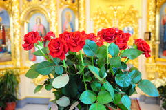 Beautiful roses in the church. Cool view of roses in a well- lit room of the church Stock Photography