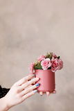 Beautiful roses in crimson cup holding in hands. Beautiful pink roses in crimson cup holding in hands on beige wall. Festive background of love, early spring Royalty Free Stock Photography