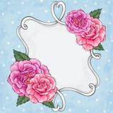 Beautiful roses frame card Royalty Free Stock Photos