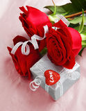 Beautiful roses with gift box & heart Royalty Free Stock Photo