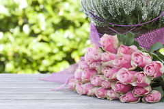 Beautiful roses and heather stock photos