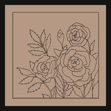 Beautiful roses isolated on light beige background. Hand drawn illustration with flowers. Stock Photo