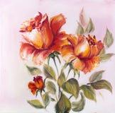 Beautiful roses, oil painting stock image