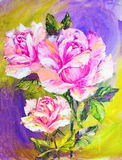 Beautiful roses, oil painting Stock Photography