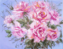 Beautiful Roses, oil painting on canvas Royalty Free Stock Photography