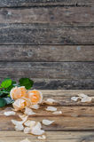 Beautiful roses on table Royalty Free Stock Photo