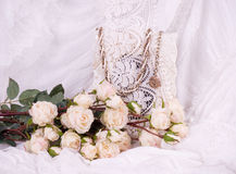 Beautiful roses and vintage frame Royalty Free Stock Images