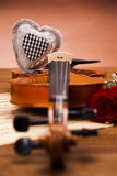 Beautiful roses and violin! Stock Images