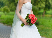 Beautiful roses wedding bouquet Stock Images