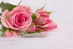 Beautiful  roses and weddings rings Stock Photography