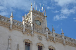 Beautiful Rossio Station in Lisbon. Rossio Station Clock Tower in neogothic style Stock Photos