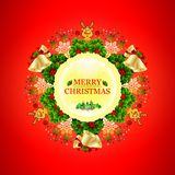 Beautiful round Christmas wreath with stars, snowflakes, bows, lights and little deer. vector illustration