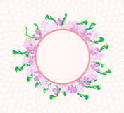 Beautiful round floral art frame scene Stock Images