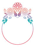 Beautiful round floral frame with gradient fill.  Raster clip art. Beautiful round floral frame with gradient fill. Color silhouette frame for advertisements Stock Photos