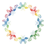 Beautiful round floral frame with gradient fill.  Raster clip art. Stock Photo