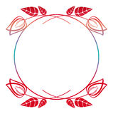 Beautiful round floral frame with gradient fill. Raster clip art. Stock Image
