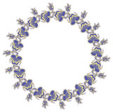Beautiful round frame with blue decorative flowers. Stock Photo