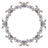 Beautiful round frame with blue decorative flowers. Stock Photography