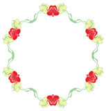 Beautiful round frame with blue decorative flowers. Royalty Free Stock Images