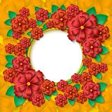 Beautiful  round frame with 3d red and orange paper cut out flowers and green leaves Royalty Free Stock Photos