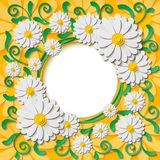 Beautiful  round frame with 3d white paper cut out chamomiles and green leaves Stock Photos