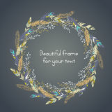 Beautiful round frame with feathers and    some floral elements. Royalty Free Stock Photos