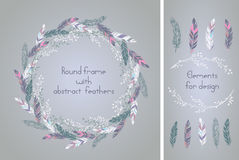 Beautiful round frame with feathers and    some floral elements. Stock Images