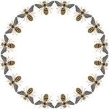 Beautiful round frame of flying bees, dragonflies, shiny gold and black print with precious rhinestones, embroidery and jewelry Royalty Free Stock Photography