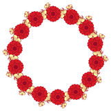 Beautiful round frame with red decorative flowers Stock Photos