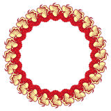 Beautiful round frame with red decorative flowers Stock Photo
