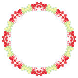 Beautiful round frame with red decorative flowers. Stock Image