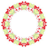 Beautiful round frame with red decorative flowers. Royalty Free Stock Photo
