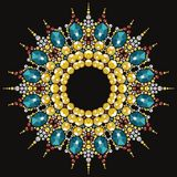 Beautiful round frame of rhinestones. Royalty Free Stock Images