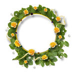 Beautiful round frame of roses, leaves, ribbons and pearls Royalty Free Stock Photos