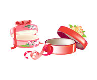 Beautiful round gift boxes, with ribbons, flowers in form decor. Stock Photography