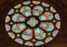 Beautiful round ornamented glass stained window Royalty Free Stock Image