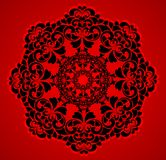 Beautiful round pattern. On a red background vector illustration Royalty Free Stock Photos