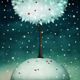 Beautiful round winter tree Royalty Free Stock Photo