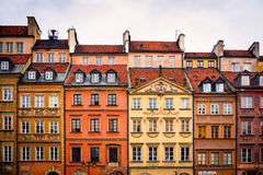 Beautiful row of houses in old town Warsaw Stock Image