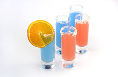 Beautiful row line of different colored alcohol cocktails Stock Image