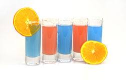 Beautiful row line of different colored alcohol cocktails Royalty Free Stock Photography